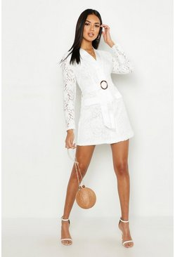 Womens Ivory Lace Belted Wrap Dress