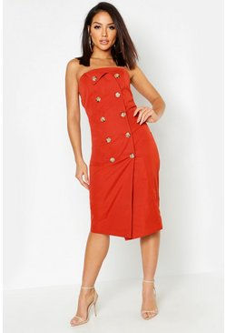 Womens Terracotta Utility Bandeau Midi Dress