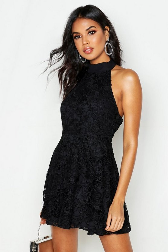 Womens Black Premium Lace High Neck Skater Dress