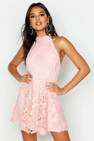 Womens Blush Premium Lace High Neck Skater Dress