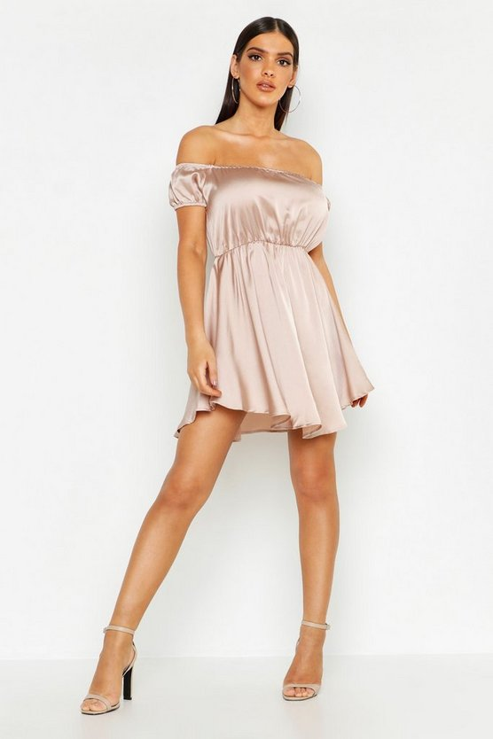 Satin Off The Shoulder Skater Dress