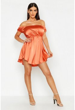 Womens Terracotta Satin Off The Shoulder Skater Dress