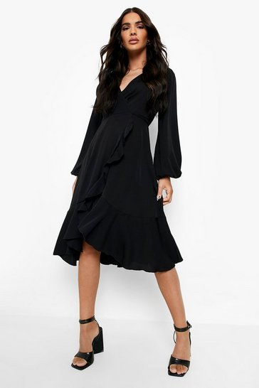 Womens Black Crepe Ruffle Wrap Midi Skater Dress