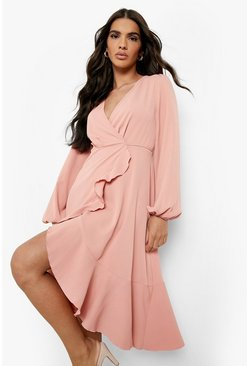 Blush Crepe Ruffle Wrap Midi Skater Dress