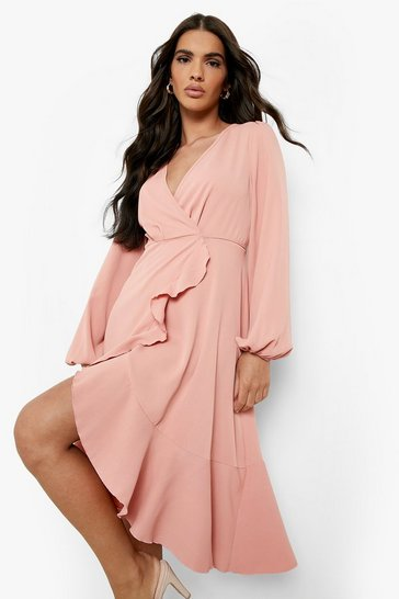 Womens Blush Crepe Ruffle Wrap Midi Skater Dress