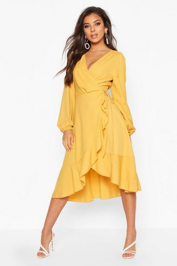 Mustard Crepe Ruffle Wrap Midi Skater Dress