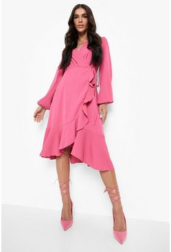 Womens Pink Crepe Ruffle Wrap Midi Skater Dress