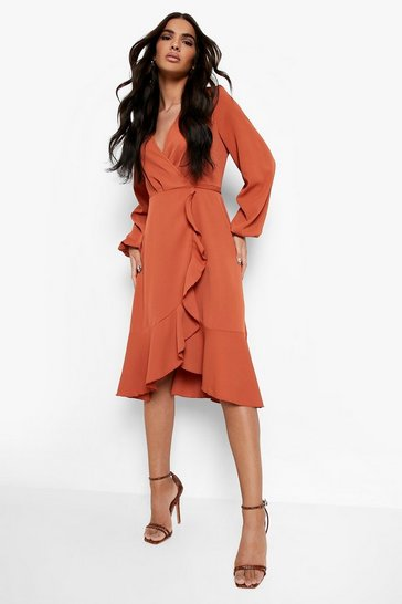 Womens Rust Crepe Ruffle Wrap Midi Skater Dress