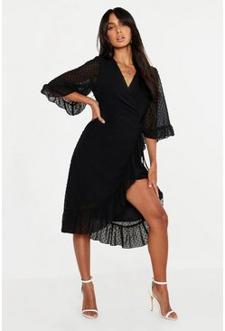Womens Black Dobby Chiffon Wide Sleeve Midi Wrap Dress