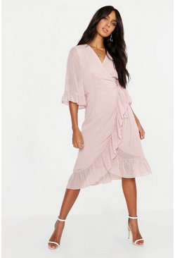 Womens Blush Dobby Chiffon Wide Sleeve Midi Wrap Dress