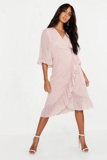 Blush Dobby Chiffon Wide Sleeve Midi Wrap Dress