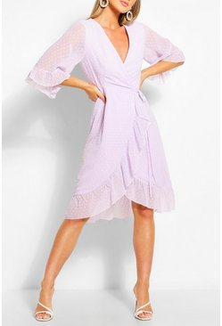 Lilac Dobby Chiffon Wide Sleeve Midi Wrap Dress
