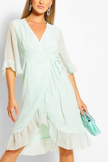 Mint Dobby Chiffon Wide Sleeve Midi Wrap Dress