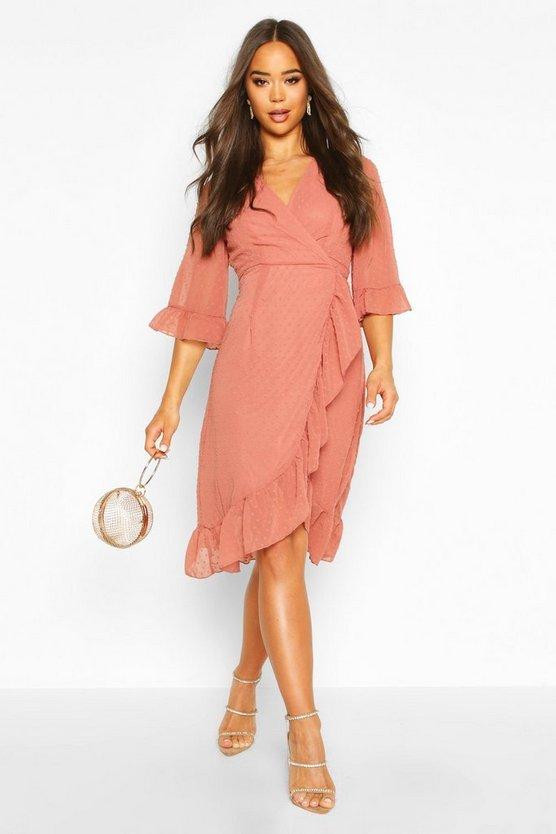 Dobby Chiffon Wide Sleeve Midi Wrap Dress