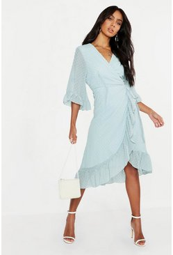 Womens Sage Dobby Chiffon Wide Sleeve Midi Wrap Dress