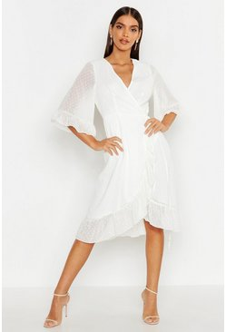 Womens White Dobby Chiffon Wide Sleeve Midi Wrap Dress