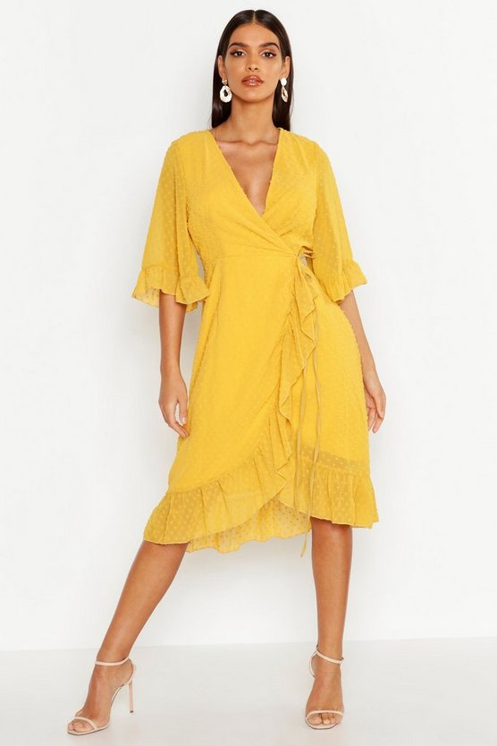Womens Yellow Dobby Chiffon Wide Sleeve Midi Wrap Dress
