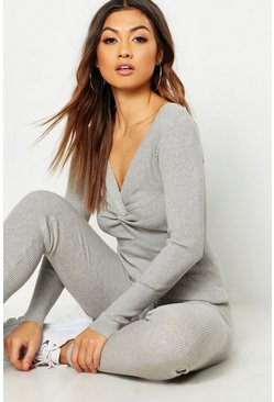 Womens Beige Twist Front Rib Knit Loungewear