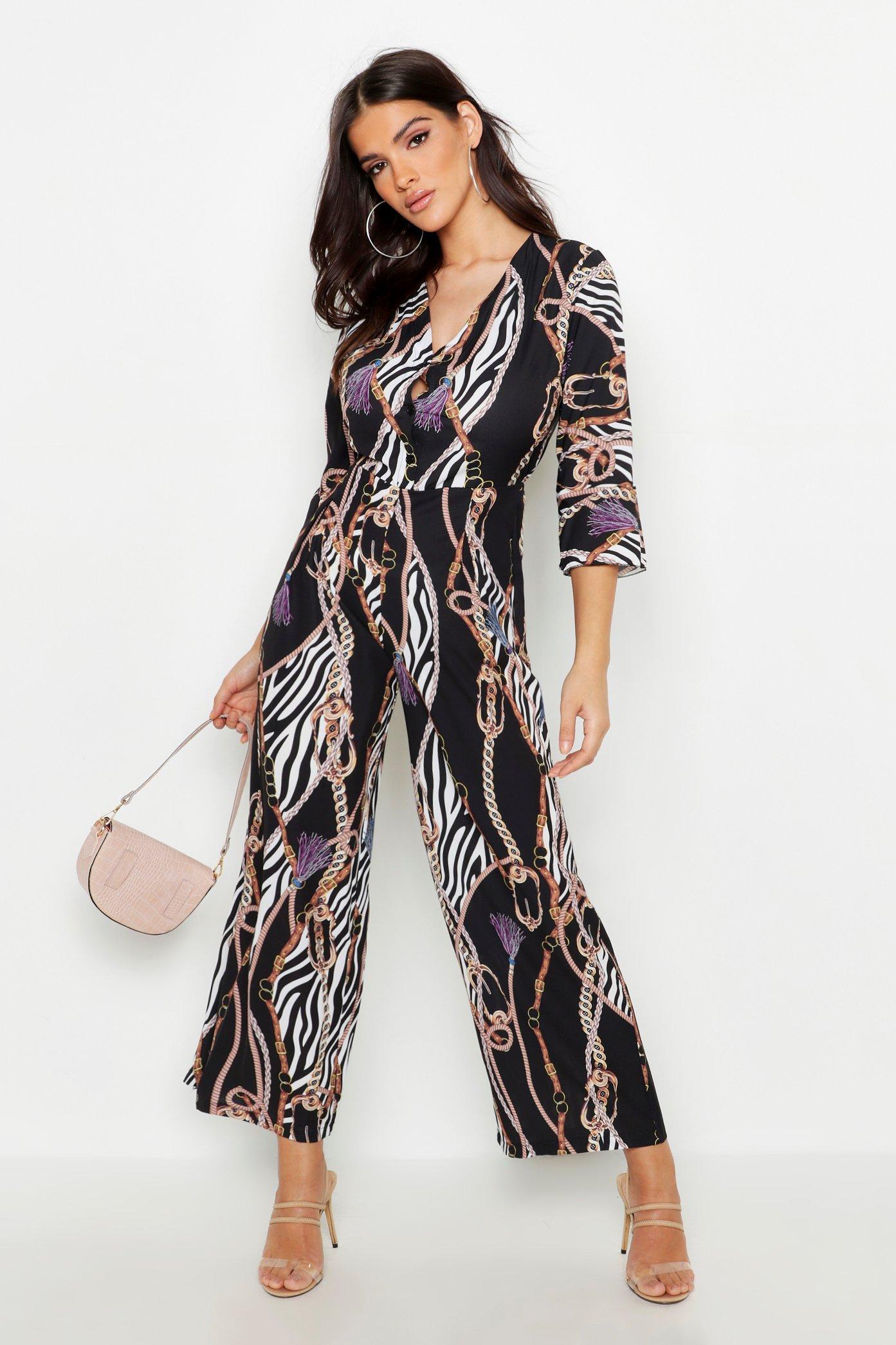 Chain Zebra Print Jumpsuit