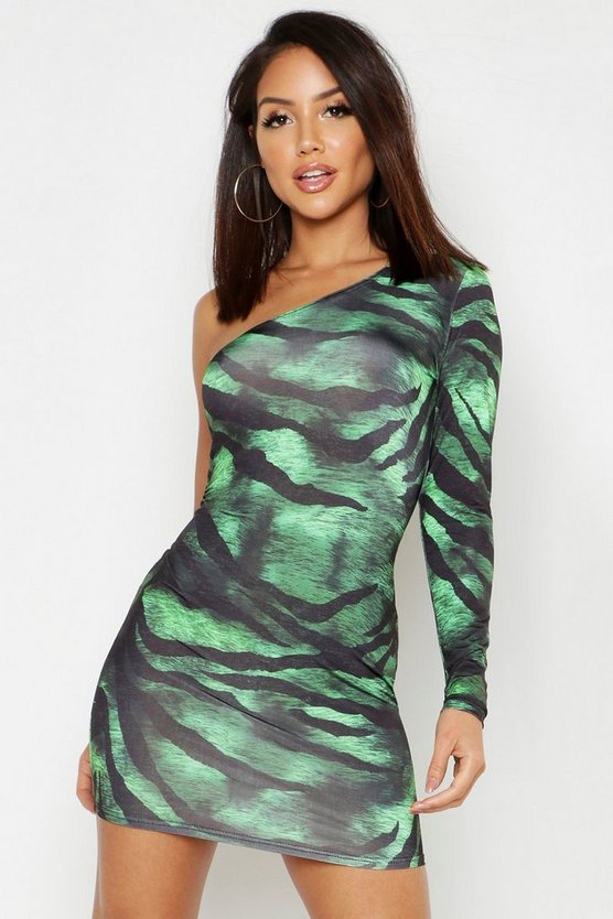 Womens Green Slinky Tiger Print One Shoulder Mini Dress