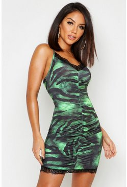Womens Green Tiger Print Lace Trim Mini Dress
