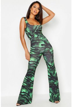 Womens Green Slinky Tiger Print Square Neck Jumpsuit