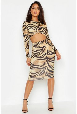 Womens Brown Slinky Tiger Print Midi Skirt