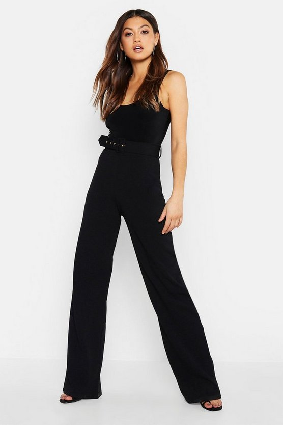 Womens Black High Waisted Belted Trousers