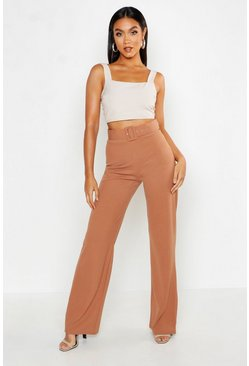 Womens Caramel High Waisted Belted Trousers