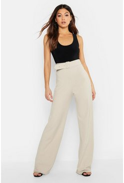 Womens Stone High Waisted Belted Trousers