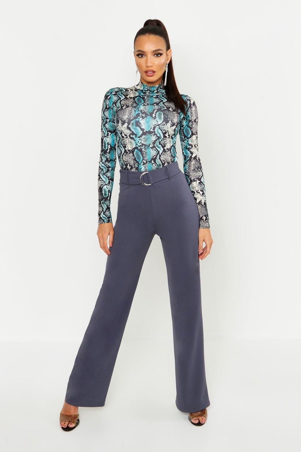 63ccbcd852f0 High Waisted D-Ring Belted Wide Leg Trousers. Hover to zoom