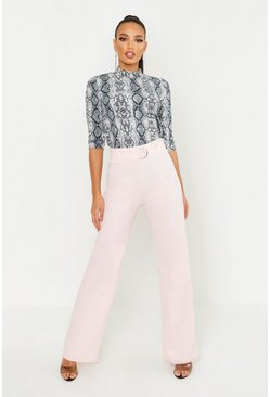 Womens Pink High Waisted D-Ring Belted Wide Leg Pants