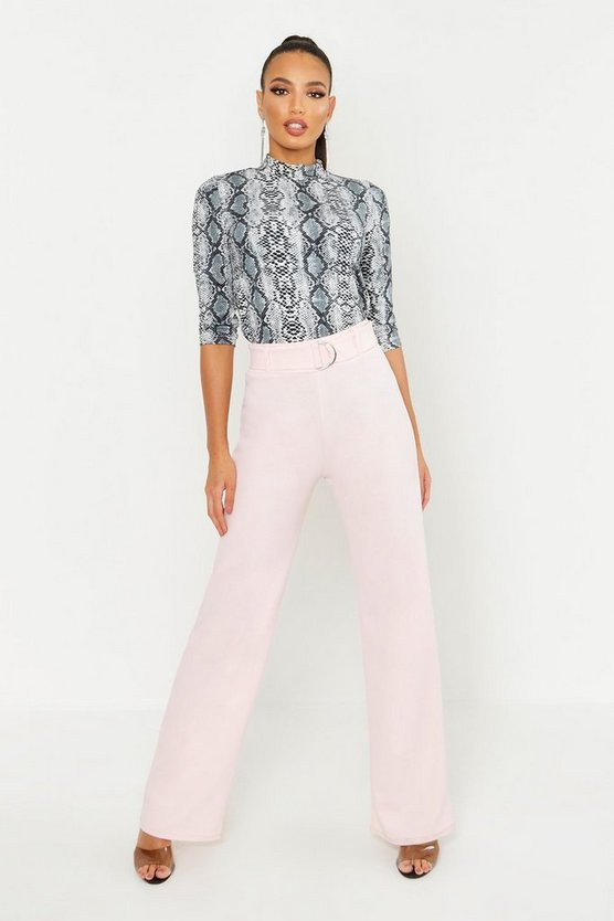 Womens Pink High Waisted D-Ring Belted Wide Leg Trousers