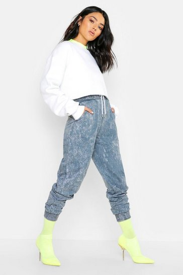 Womens Grey Acid Wash Jogger