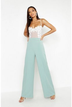 Womens Sage High Waisted Seam Front Wide Leg Trousers