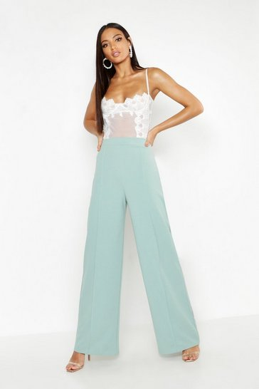 Sage High Waisted Seam Front Wide Leg Trousers