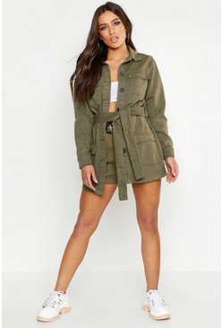 Womens Khaki Belted Utility Pocket Denim Jacket