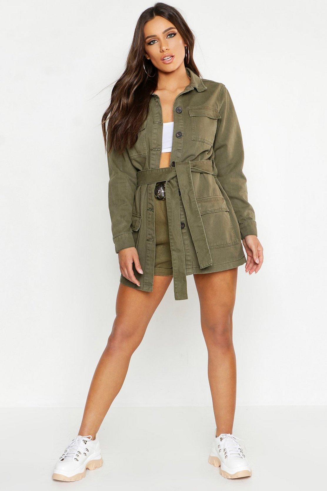 belted-utility-pocket-denim-jacket by boohoo