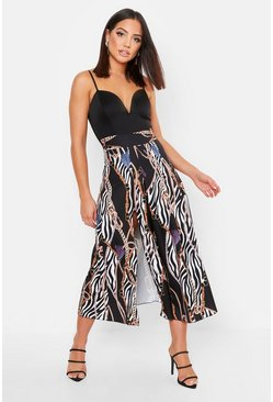 Womens Black Chain Zebra Print Split Detail Skirt