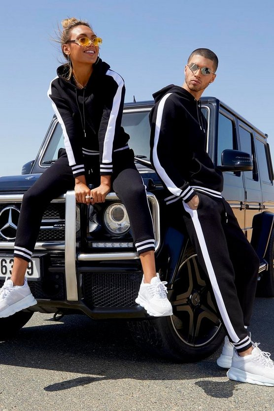 Her Side Panel Contrast Rib Hooded Tracksuit