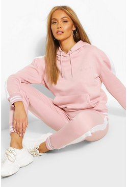 Dusky pink Her Side Panel Contrast Rib Hooded Tracksuit