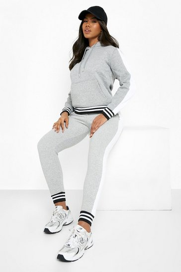 Grey marl Her Side Panel Contrast Rib Hooded Tracksuit