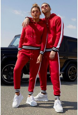Red Her Side Panel Contrast Rib Hooded Tracksuit