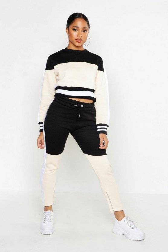 Womens Sand Her Colour Block Panelled Crop Tracksuit