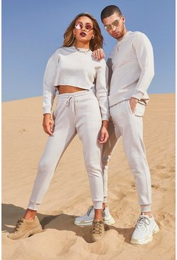 Womens Stone Her Crop Embroidered Tracksuit