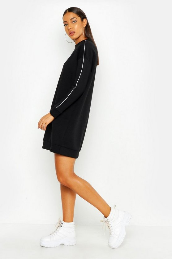 Womens Black Her Oversized Sweat Dress With Contrast Piping