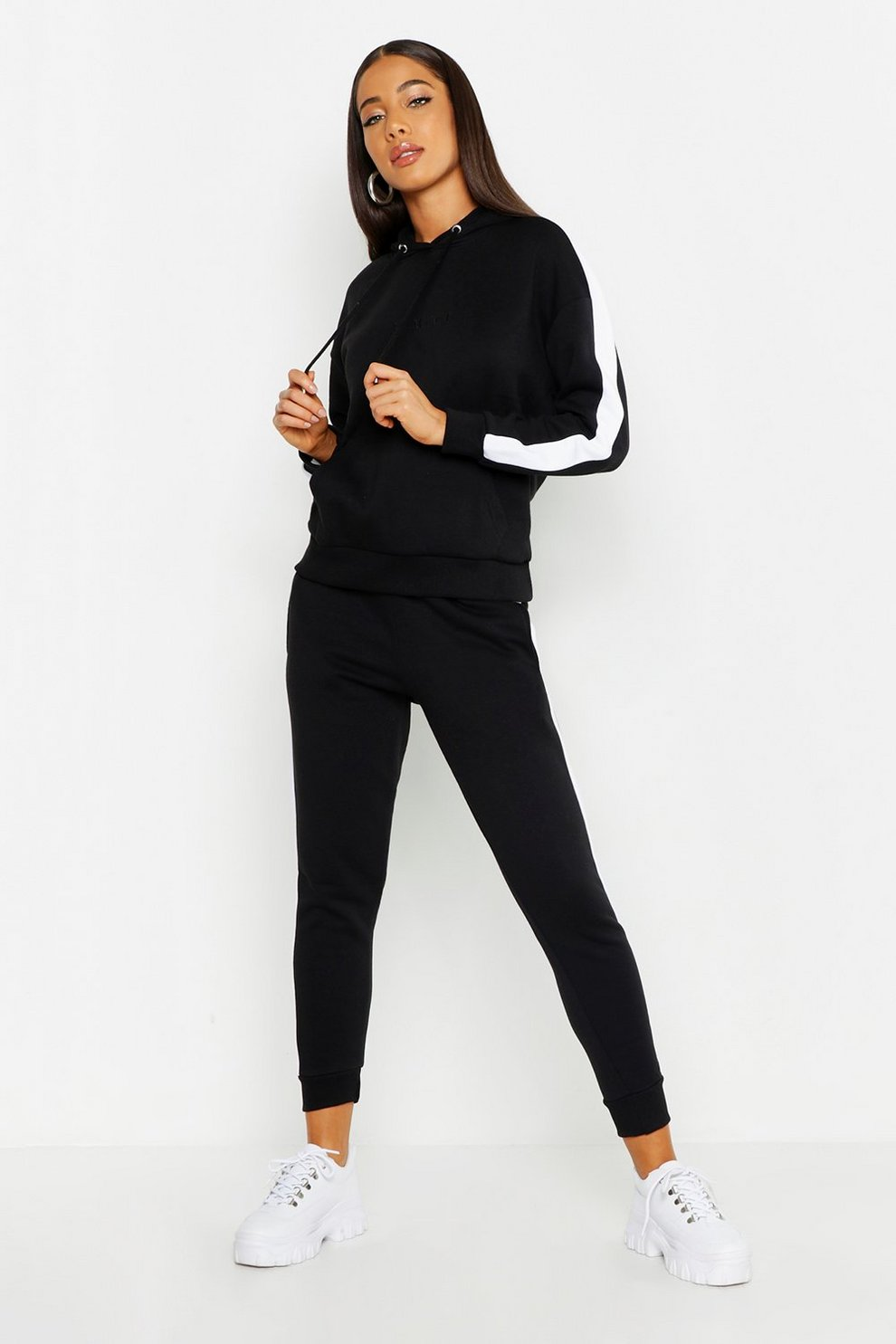 9a4bce4ce731 Her Embroidered Panelled Hooded Tracksuit | Boohoo