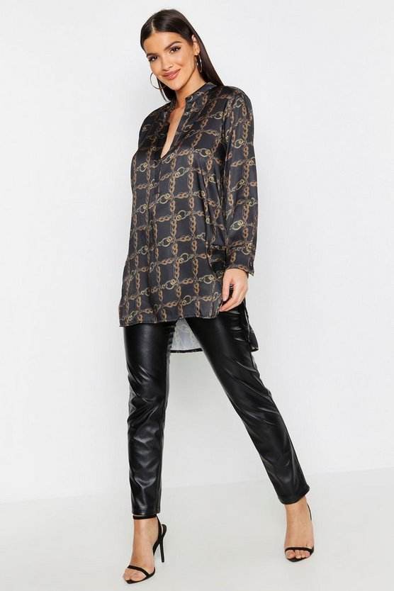 Satin Chain Print Oversized Collarless Shirt
