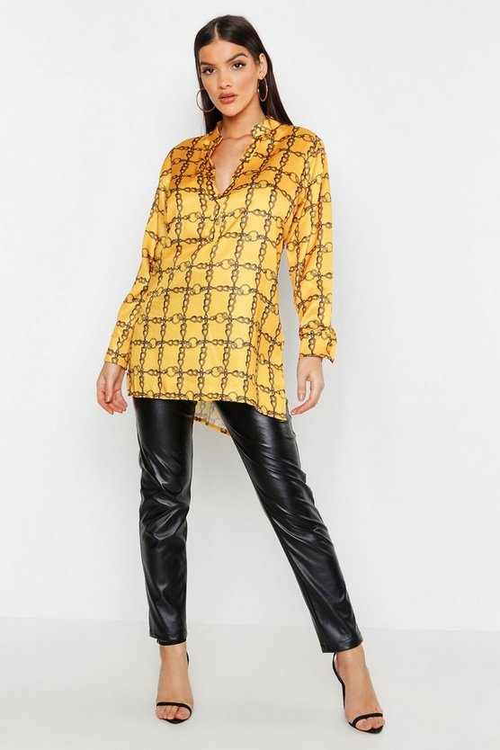 Womens Mustard Satin Chain Print Oversized Collarless Shirt