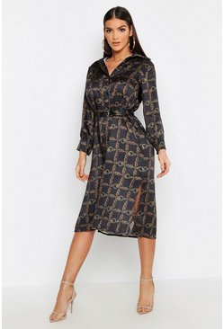 Dam Black Satin Chain Metal Belted Midi Shirt Dress